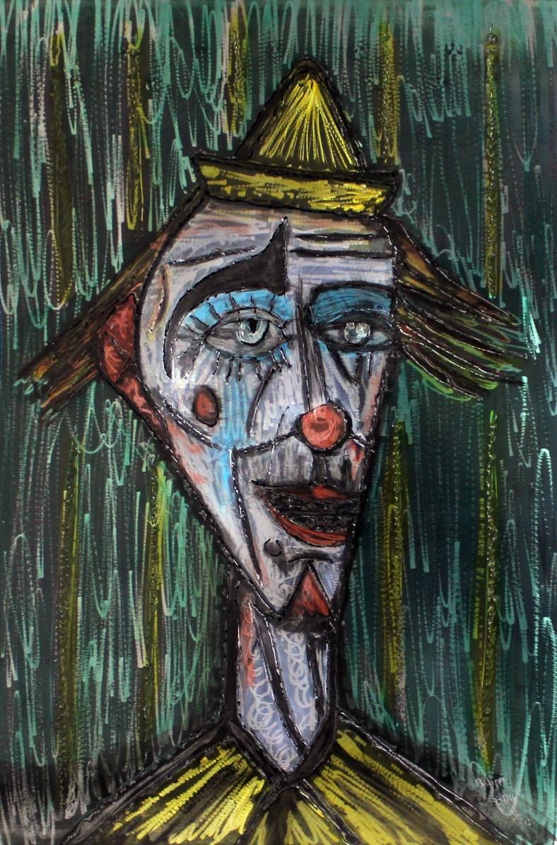 Tableau hommage Bernard Buffet Clown jaune et vert - Tableau aci