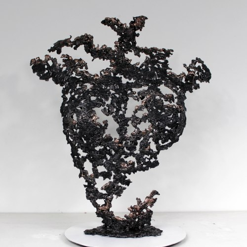 Belisama Corail - Sculpture Philippe Buil - Buste de femme Metal