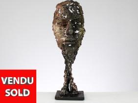 une larme - Sculpture visage metal acier bronze laiton - Metal S