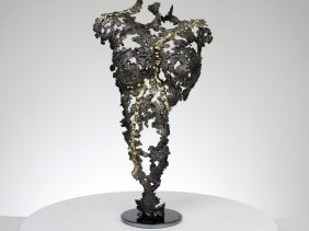 Sculpture corps feminin metal acier laiton - H 37 cm Sculpture female body metal steel brass - H 37 cm