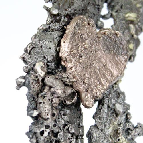 Au coeur des feuilles - Sculpture feuille acier bronze laiton co