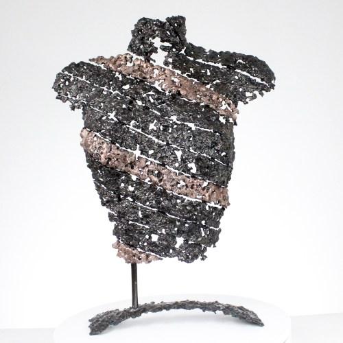 Belisama femme ruban - Bustier métal dentelle bronze acier - Metal sculpture woman bust steel metal lace - Sculpture Philippe Buil
