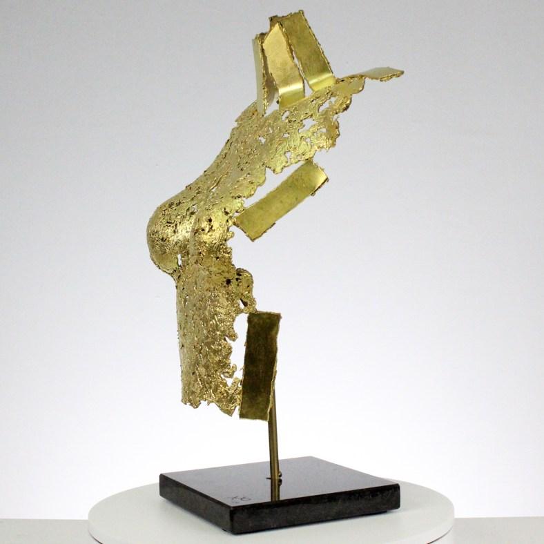 Belisama Jocaste or - Bustier métal dentelle bronze et feuille d'or - Metal sculpture woman bust lace leaf gold- Sculpture Philippe Buil