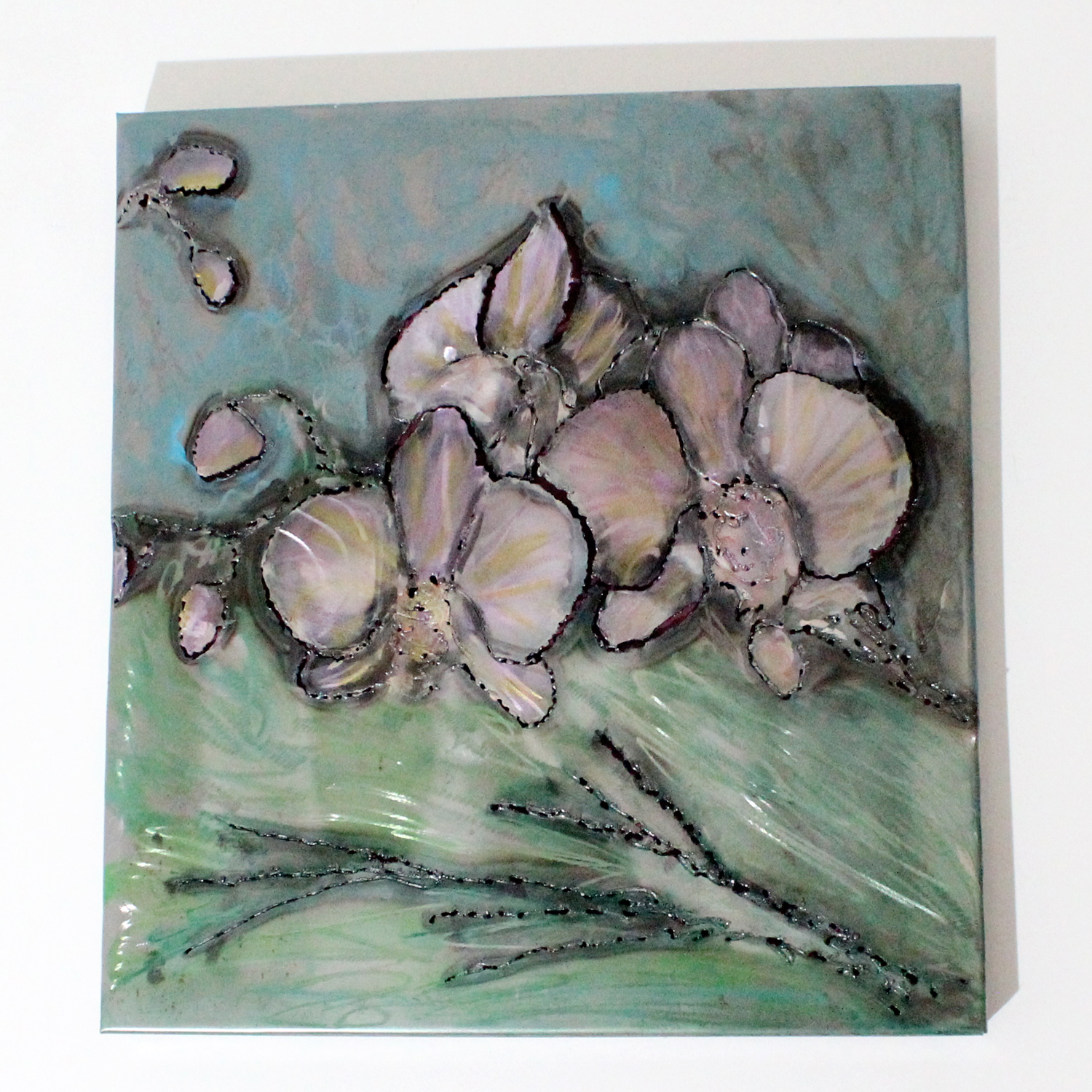 Tableau orchidée Acier encre vernis , orchid wall sculpture Steel ink varnish Philippe Buil