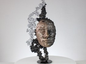une larme sculpture visage metal acier bronze chrome a tear face sculpture metal steel bronze chrome philippe BUIL
