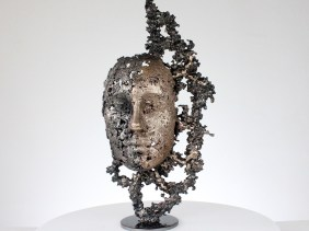 une larme VI sculpture visage metal acier bronze a tear III face sculpture metal steel bronze philippe BUIL