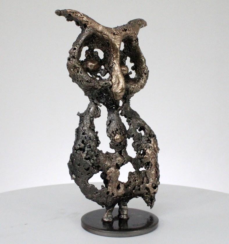 Chouette Colette Sculpture animaliere métal - Chouette bronze et acier - animal metal sculpture owl steel bronze - Buil