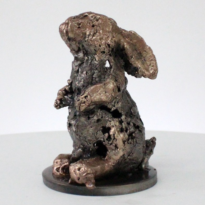 Buffon lapin - Sculpture animal dentelle bronze acier - Rabbit sculpture lace bronze steel - Philippe Buil sculpteur