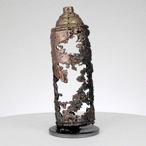 bombe spray acier et bronze sculpture inspiration pop art steel and bronze spray bomb sculpture inspiration popart philippe Buil