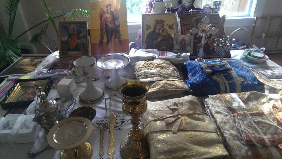 Table covered with items from Romania
