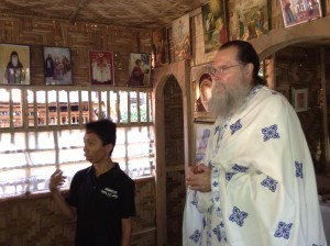 Father Seraphim preaches as Alpheus translates