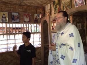 Father Seraphim preaches as Alpheus translates