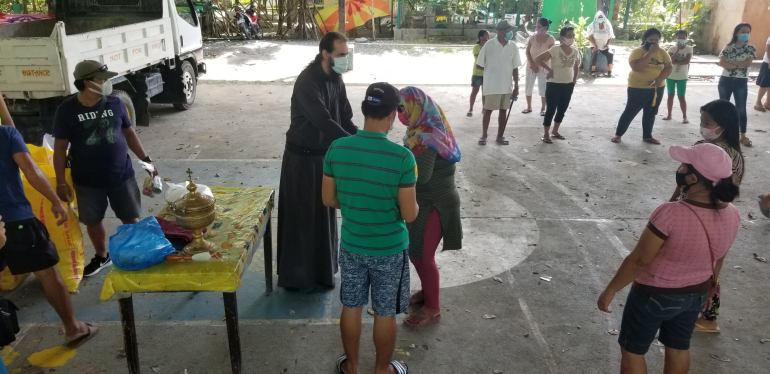 Distributing aid in Davao City