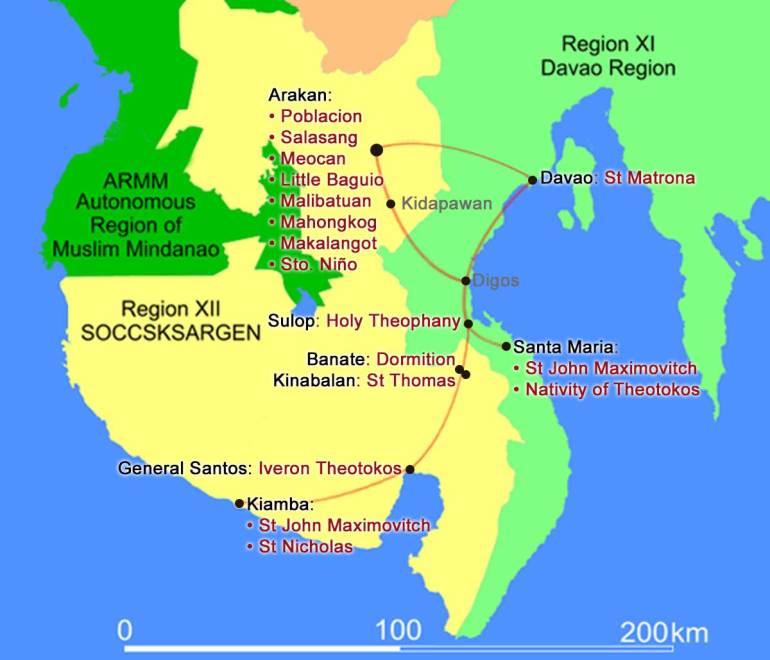 Map of Mindanao churches