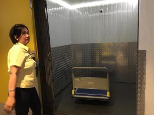 Service elevators facilitate transport of items to upper floors