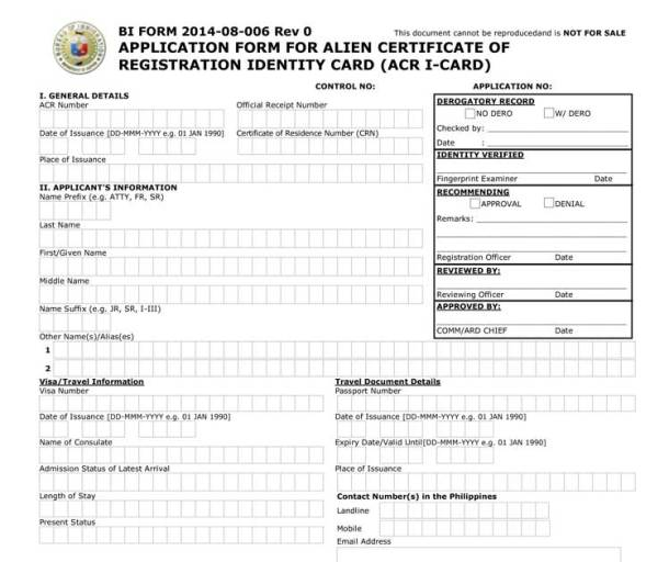 ACR I-Card Application Form