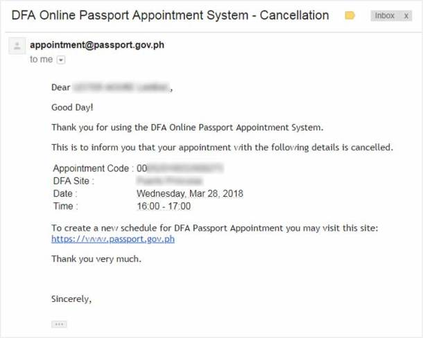 Email Notification for Successful Appointment Cancellation