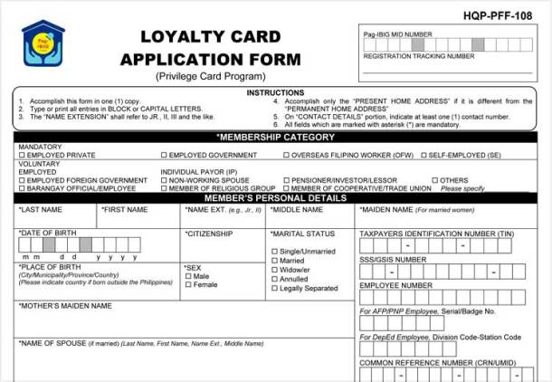 Pag-IBIG Loyalty Card Application Form