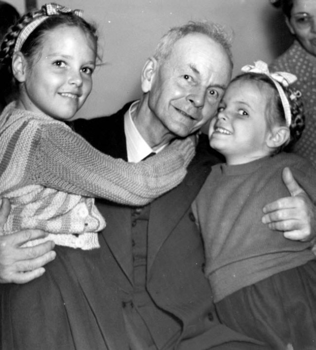 Thomas Grover with granddaughters Patricia and Jacqueline Jones, who were released with their parents Australia, 1945