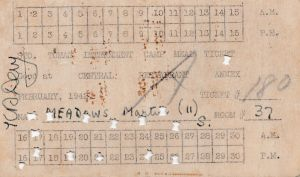 Martin Meadows Feb. 1942 meal ticket while in Room 37