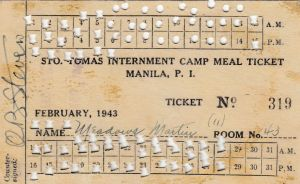 Martin Meadows February 1943 meal ticket while in Room 43