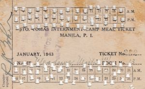 Martin Meadows January 1943 meal ticket while in Room 13