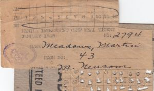 Martin Meadows January 1945 meal ticket while in Room 43
