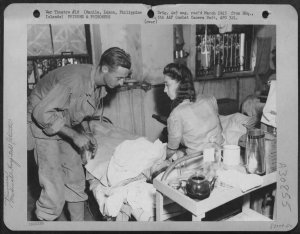 STIC internees wounded during Japanese shelling, February 1945