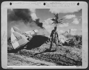 American pilot walks away from crashed P-38 Lightning
