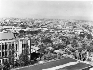 View of Manila from the tower at STIC, 1945