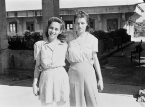 Two young women at STIC after liberation, 1945