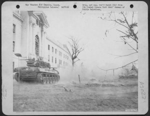 U.S. tank-destroyer outside Manila Legislature Building, February 1945