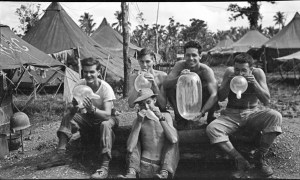 Fred Hill and pals taking a break, 1944