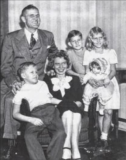 The Joseph and Thelma Huber family in 1945, after liberation.