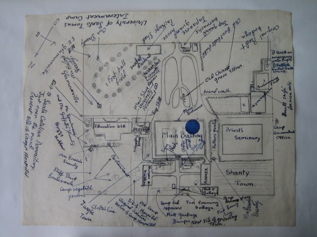 R. G. Southerton drawing of Santo Tomas University campus, with notes, 1942
