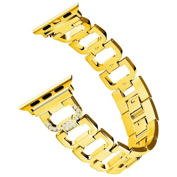 Pulseira Aco Inoxidavel Apple Watch Dourado Pedras Brancas Img 01