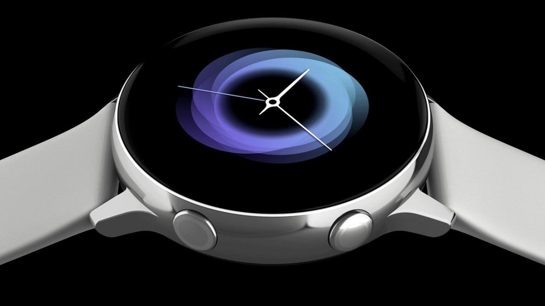 Imagem do Galaxy Watch Active, com uma pulseira prata, sobre fundo preto.