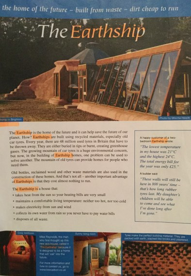 Find all mentions of 'earthships'