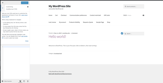 Additional CSS section in a WordPress site Dashboard