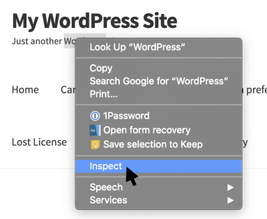 Google Chrome flyout menu with Inspect option highlighted