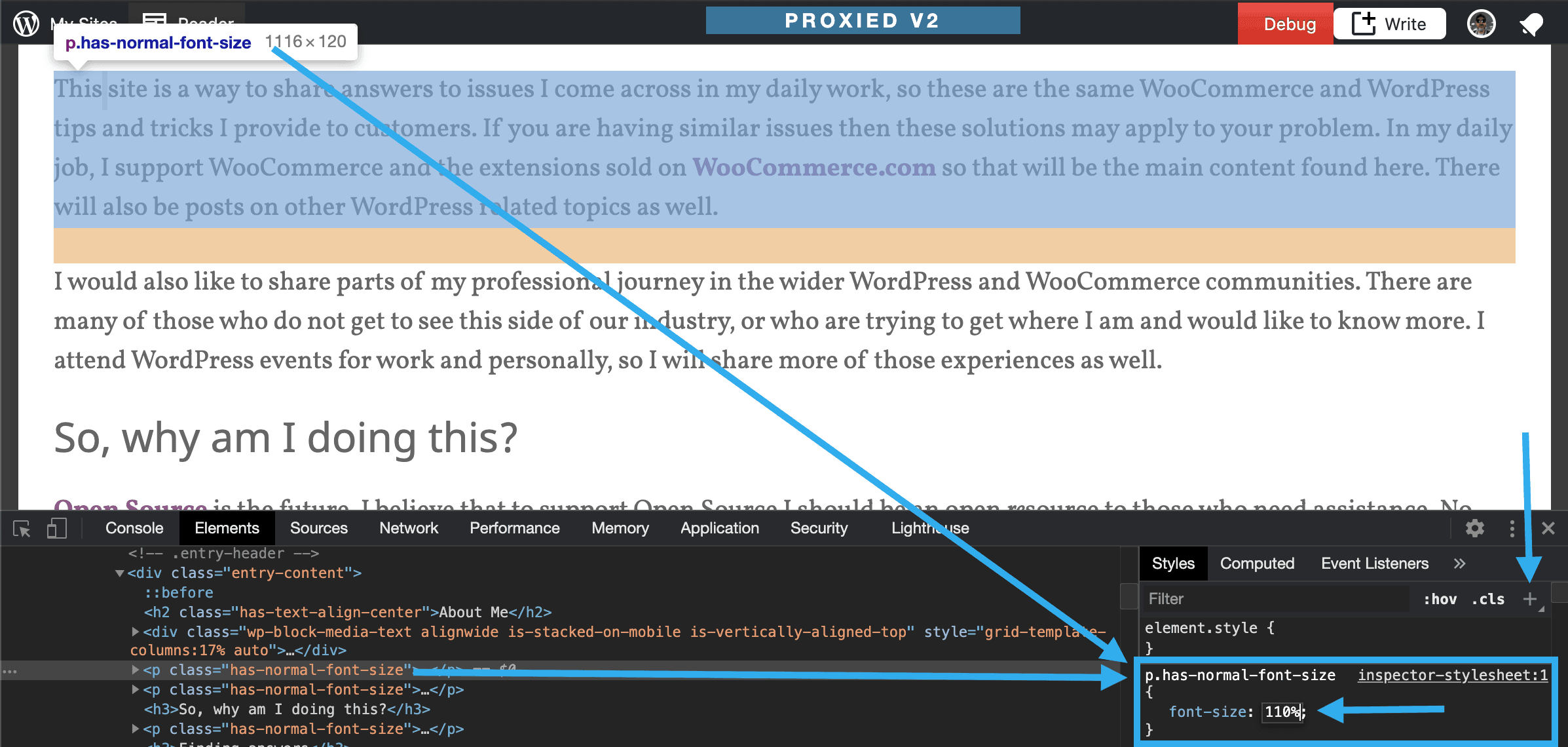 Adding a temporary CSS rule to the Inspector module and highlighting how all of the code and content connect