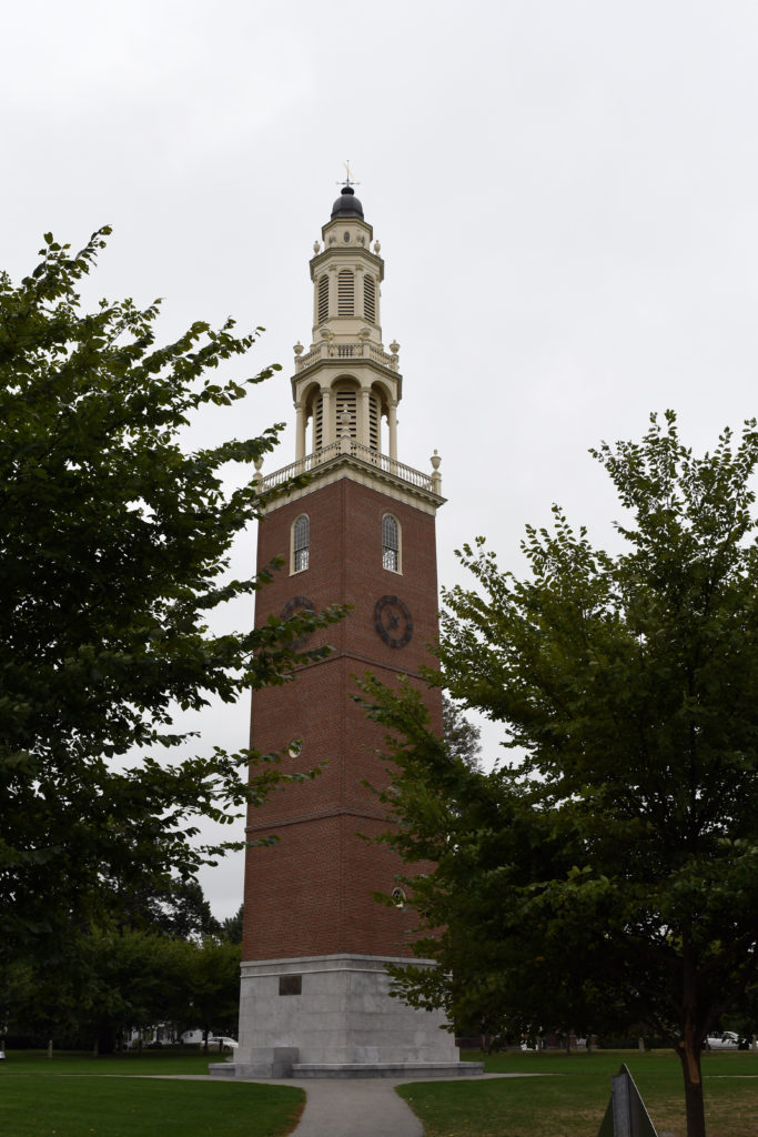 The Memorial Bell Tower was built in 1922 and was renovated in 2006.