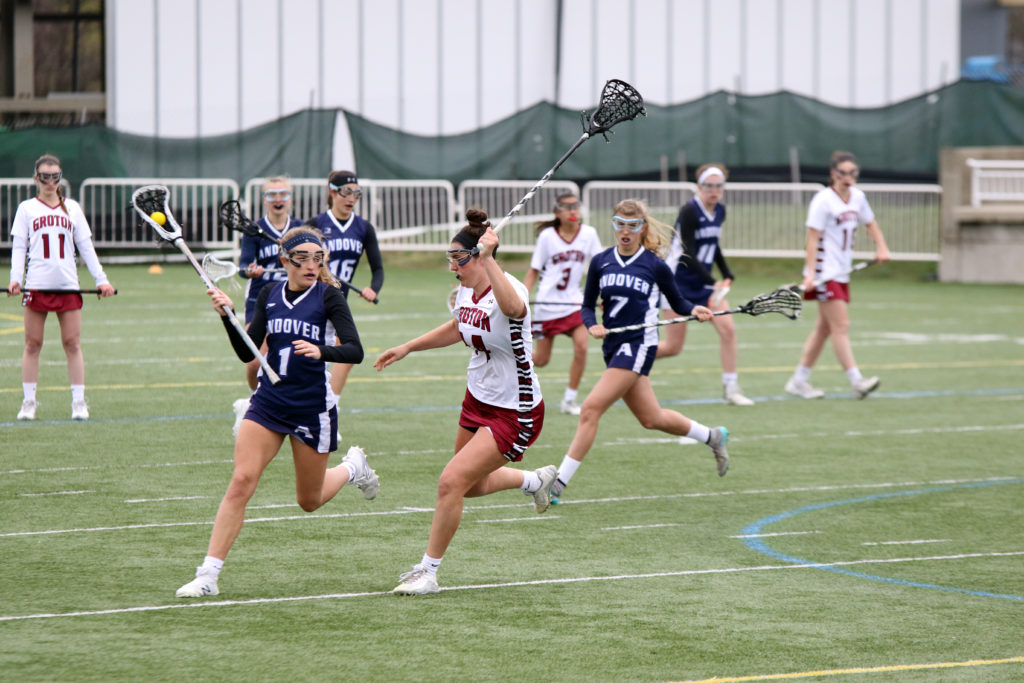 Katherine McIntire '19 plays midfield and scored four goals for Andover against Northfield Mount Hermon.