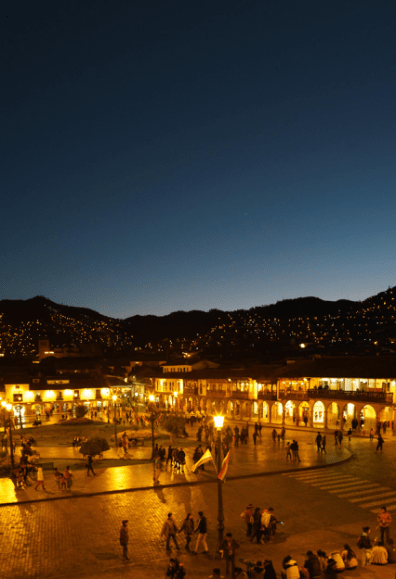 Overlooking the city of Cusco at night.