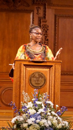 Hafsat Abiola '92, Nigerian activist, spoke in Cochran Chapel as the weekend's keynote speaker.