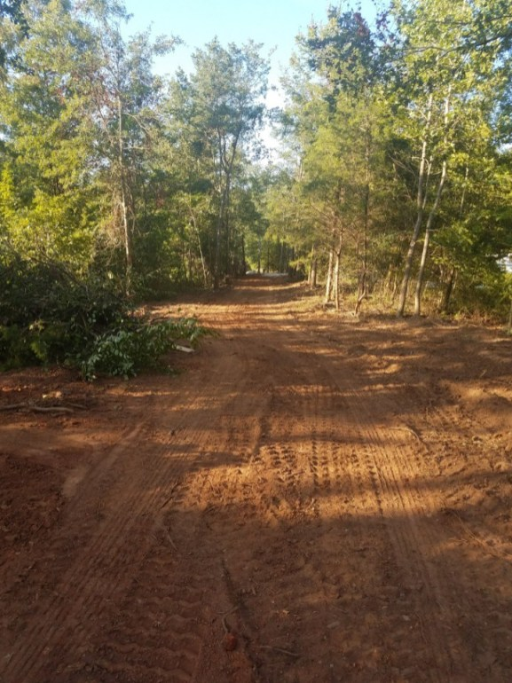 The cleared driveway before gravel is added