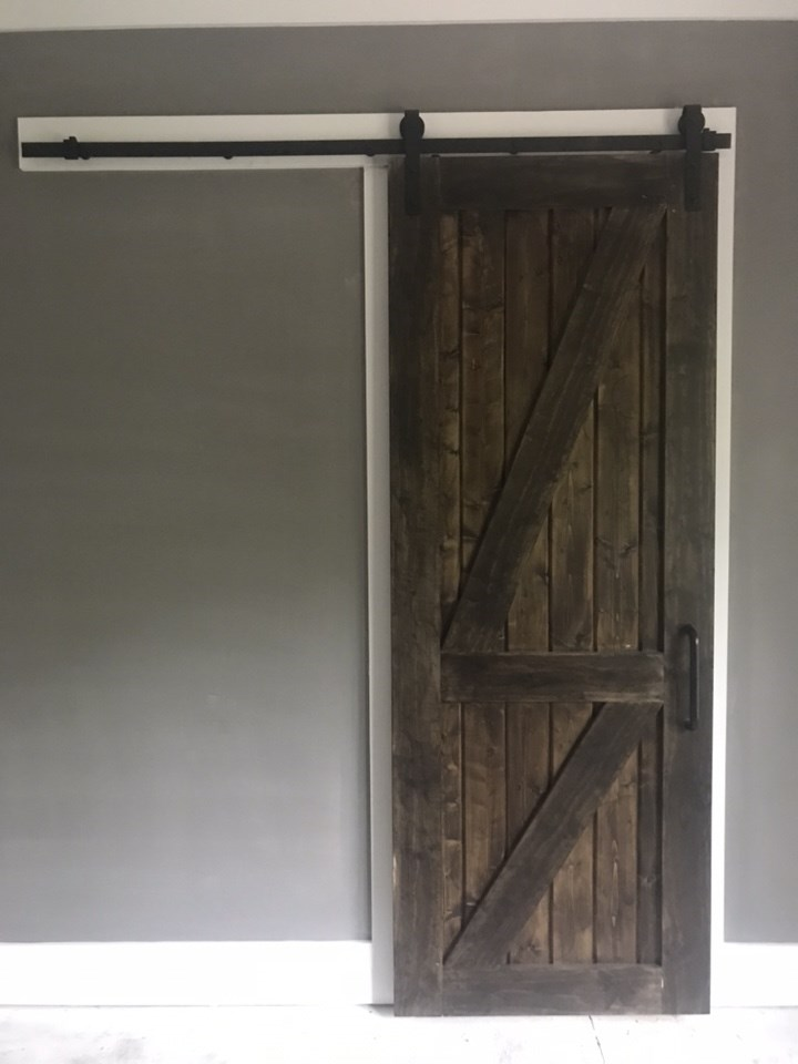 4-barn door stained and hung