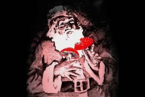 Santa Clause eating amanita muscaria mushrooms