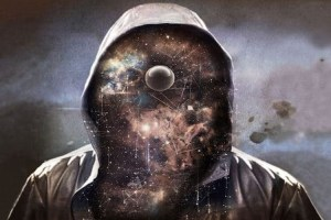 Hooded man revealing multiverse