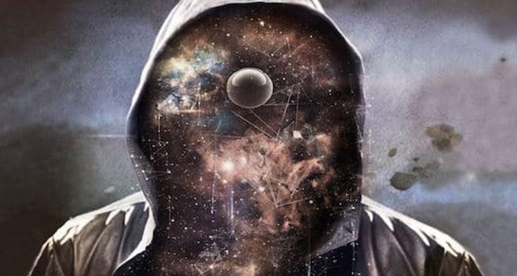 Hooded man revealing multiverse
